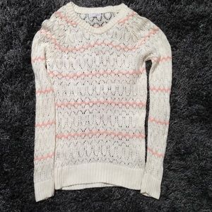 Delicate pointelle knit sweater